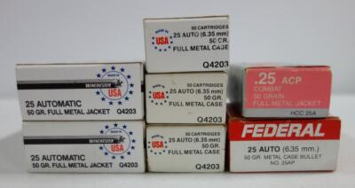 25 Auto 50 gr FMJ Ammo, Brands Include Federal, Hansen And More, Approx 325 Rounds, Local Pickup Only