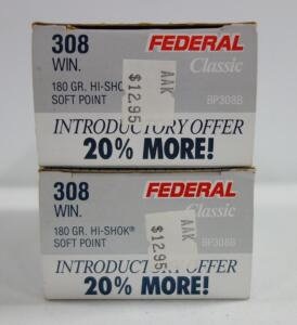 Federal .308 WIN 180 gr Hi-Shok Soft Point Ammo, Approx 37 Rounds, Local Pickup Only