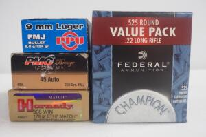 Assorted Ammo, Includes 9mm Luger, .45 Auto, .308 WIN And .22 LR, Brands Include Hornady, Federal, PMC And PPU, Local Pickup Only