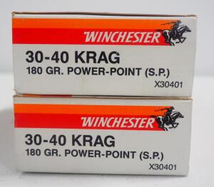 Winchester 30-40 Krag 180 gr Power-Point SP Ammo, Approx 40 Rds, Local Pickup Only