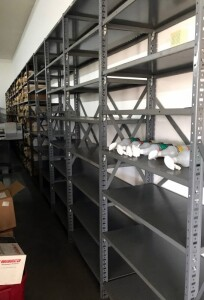 Steel Storage Shelving Assortment, Contents of 5 Pallets, Including Uprights And Shelf, Bidder Repsonsible For Proper Removal