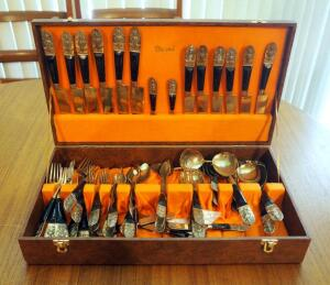 55 Piece Vintage Brass And Rosewood Thailand Flatware Set In Felt Lined Wood Storage Case