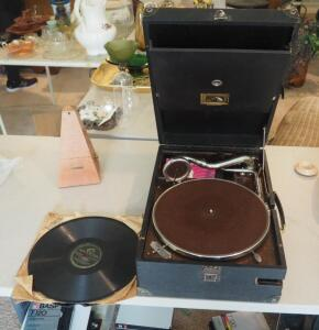 "Vintage RCA Portable Gramophone "" His Masters Voice #4"" With Records Qty. 5 And Seth Thomas Metronome"