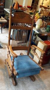 Antique Carved Back Solid Wood Rocker/Glider With Upholstered Seat, 45""