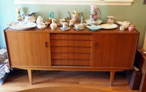 "Mid-Century Modern 5-Drawer Solid Wood Buffet With Sliding Door Storage, 31.25"" X 63"" X 17"", Contents Not Included, 2nd Day Load Out Only"
