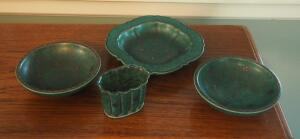 Gustavsberg Argenta Swedish Pottery Including 960 Vase, 1094 II Bowls Qty.2 And 1129 Square Dish, Total Qty. 4 Pieces