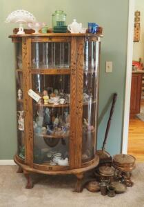 "Solid Wood Curved Glass Curio Cabinet with 3 Shelves, Beveled Accent Glass And Claw Feet, 60.5"" X 33"" X 16.5, Contents Not Included"