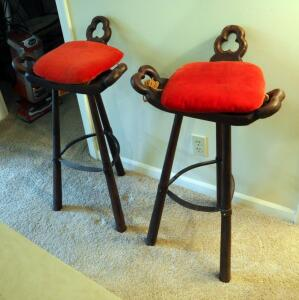 Hand Carved 3-Legged Bar Stools With Velvet Cushions Qty. 2, 34""