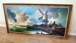 "Framed Oil On Canvas Dutch Landscape, Artist Signature Illegible, 28"" X 56"""