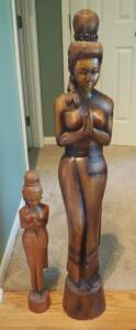 "39"" Carved Asian Figure And 22"" Carved Woman, Some Visible Damage"