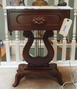 "Victorian Solid Wood Single Drawer Marble Top Accent Table With Harp Pedestal Base, 26"" X 19"" X 15, Contents Not Included"