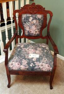 "Victorian Style Solid Wood Accent Chair With Upholstered Seat And Back, 38.5"" X 24"" X 22"""