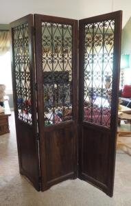 "Accordion Style, Ornate Solid Wood Folding Screen With Metal Scroll Work, 68"" X 55.5"""