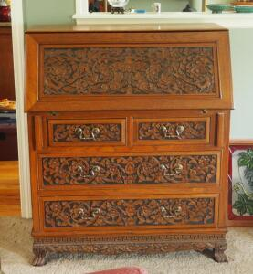 "5-Drawer Carved Front Secretary With Claw Feet, Drop Front Desk Top And Letter Box, 42"" X 36"" X 17"", Contents Not Included"