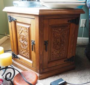 "Matching Octagonal Marble Topped End Tables With Carved Wood Panel Doors, Qty 2, 21"" X 28"" X 28"", Contents Not Included"
