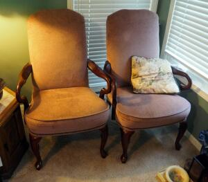 "Matching Upholstered Side Chairs With Cabriole Legs And Nail Head Trim, Qty. 2 , 42"" X 28"" X 26"""