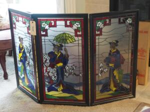 "3-Panel Oriental Style Fireplace Screen With Painted Glass Panels, 33.5"" X 54.5"""