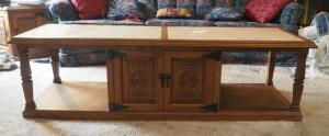 "4-Door Marble Topped Coffee Table With Carved Wood Panel Doors, 18.5"" X 54.5"" X 21"" Contents Not Included"
