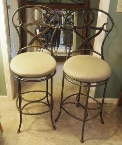 "Matching Metal Framed Bar Stools With Upholstered Swivel Seats , Qty. 2, Seat Back 44"" , Seat 27"""
