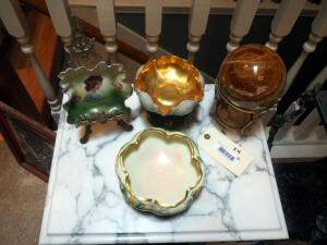 Hand Painted Ceramics Including R.S. Pedestal Bowl (Germany) R. D. & EG. Footed Bowl, Victoria Dish W/ Stand (Austria) And Stone Sphere Brass Stand