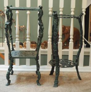 "Ornate Metal Plant Stands Qty. 2 28.5"" & 26"", One Is Missing Glass Top"