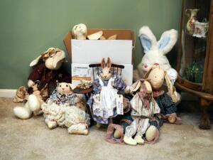 Decorative Bunny Rabbit Assortment Including Stuffed, Ceramic And Wooden Bunnies, Qty. 16, Contents Of Box