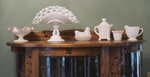 Milk Glass Collection Including Pedestal Bowl With Pink Ruffled Edge, Compote, Hen On Nest And More, Qty. 6