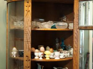 Cut Glass Serving Dishes, Ceramic Egg Cups, Hand Painted 3 Piece Vanity Set And More, Contents Of 2 Shelves