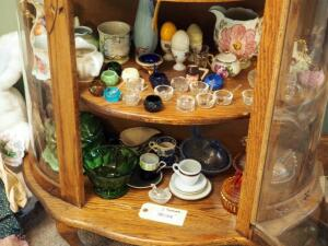 Carnival Glass Hen On Nest Qty. 2, Salt Savers, Ceramic Egg Cups And More, Contents Of 2 Shelves
