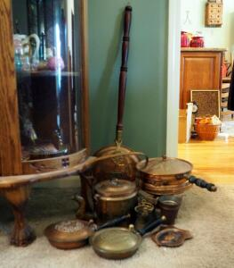 Copper And Brass Collection Including Solid Copper Tea Pot, Silent Butler, Chaffing Dish And More, Qty. 9 Pieces