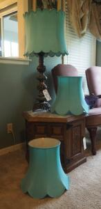 "40"" Matching Vintage Metal & Marble Table Lamps With Fabric Shades Qty. 2 Includes 2 Extra Fabric Shades"