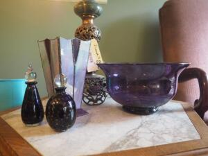 Art Glass Collection Including Blown Glass Bowl, Leaded Stained Glass Vase And Decanters