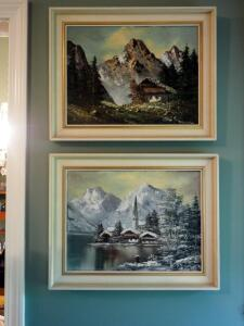 "Framed Oil On Canvas Landscape Artwork, Artist Signature Illegible, Qty. 2, 15.5"" X 19.5"""