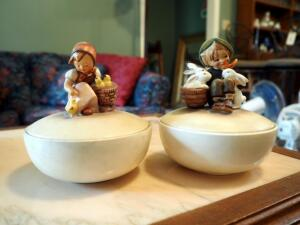 "Hummel Covered Candy Dishes III 57 ""Girls With Chicks"" And III 58 ""Playmates"""