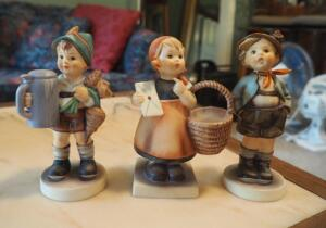 "Hummel Figurine Collection , ""Meditation Girl"", ""Whistling Boy"" And ""For Father"", Total Qty. 3"