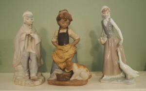 Lladro Girl With Dog And Lladro Styled Women With Geese And Peruvian Flute Player, Total Aty. 3 Pieces