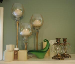 Matching Stemmed Glass Votives, Crystal Charmed Candle Sticks, LED Lighted Votive Candles And More, Qty. 11