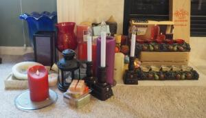 Candle And Candle Holder Assortment Including Thrown Glass Vase, Metal Lantern, Wax Pottery Vessel And More