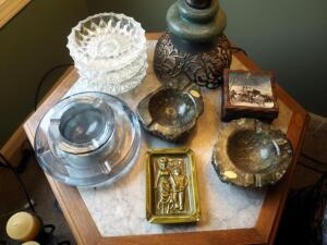 Ashtray Collection Qty.8 Including Hand Carved Alabaster Ashtrays Made In Italy And Wood Coasters