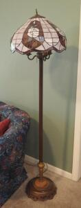 "61"" 3-Light, Leaded Stain Glass Floor Lamp, Powers On"