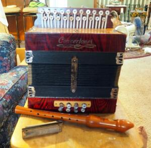 Concertone Button Box Accordian, M. Hohner Harmonica And Hohner Wood Recorder, All Made In Germany