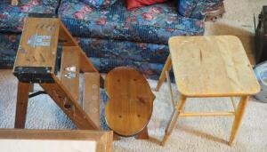 "Rustic 17"" Peg Leg Stool, Hand Painted 2 Step Step Ladder, And 7"" Heart Shaped Step Stool"
