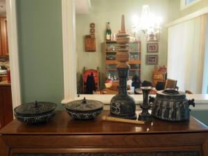 Carved Stone Vessels Including Lidded Bowls Qty. 2, Decanter With Wood Stopper, Candle Stick And Tureen