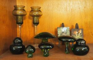 Green Art Glass Toad Stools, Birds, GLass Stemware And More