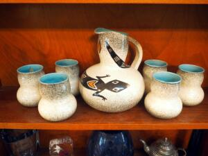 "1950s Ceramic Carafe (9"") With 6 Matching Cups, Made In New Mexico"