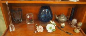 Glass Decor Collection Including Vases, Stone Eggs, Floral Ceramics And More, Contents Of Shelf