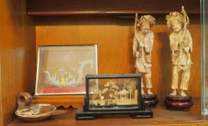 Oriental Decor Including Intricate Lampwork Dragon In Glass Case, Carved Figures And More, Contents Of Shelf