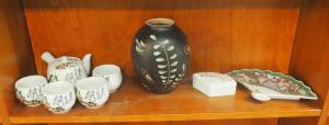 "Oriental 5-Piece Tea Set, 8"" Painted Vase And Ceramic Fan Dishes"
