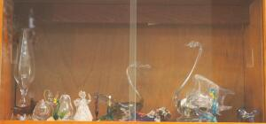 Lampwork Figurine Collection Including Birds, Fruit, Fish, Bull And More, Contents Of Shelf
