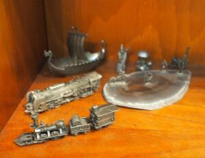 Pewter Miniature Figurine Collection Including Train Engine, Viking Ship, Wizard, Tractor, Toadstool And More